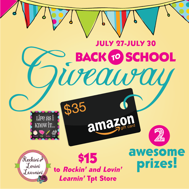 Enter my Back to School GIVEAWAY for a chance to win a $35 Amazon Card and $15 to my friend's TpT store!