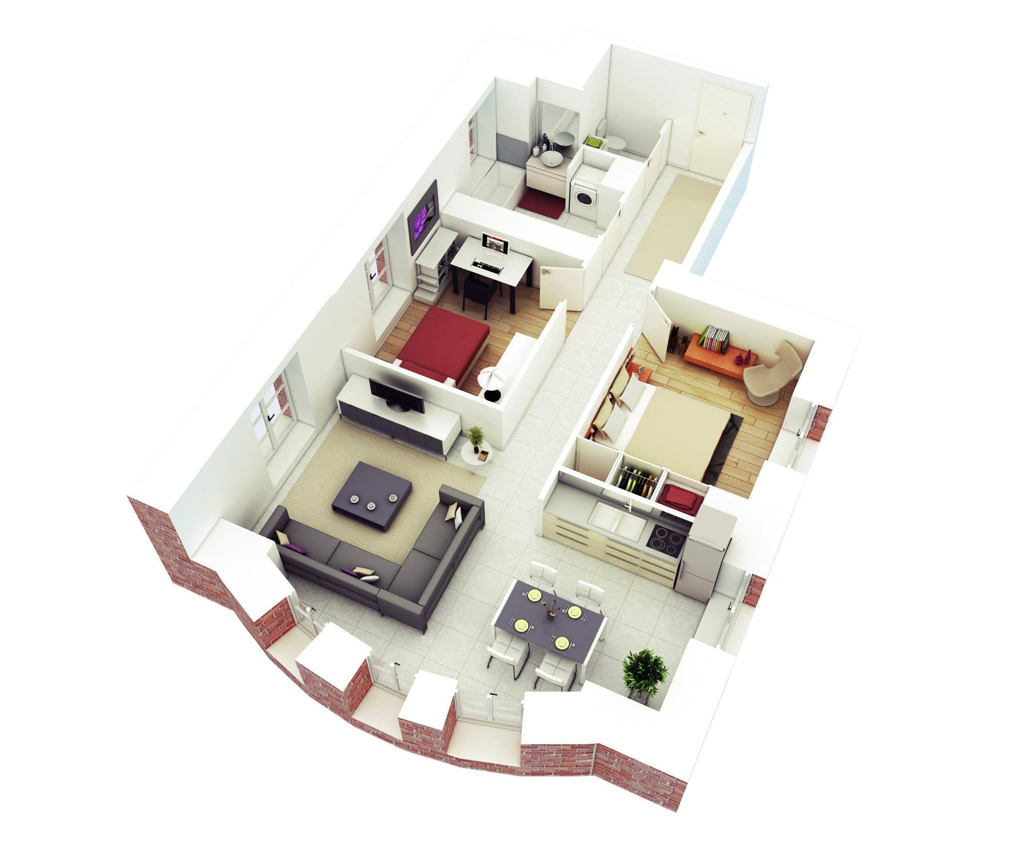 25 More 2 Bedroom 3D Floor Plans | House plans with ...
