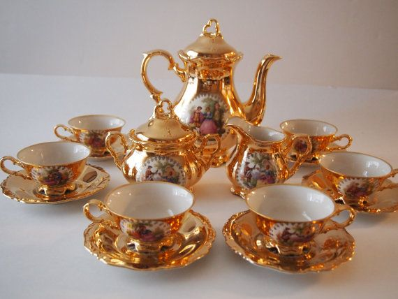 Waldershof Bavarian 22kt Gold Plated Coffee/Tea/Espresso Set & Waldershof Bavarian 22kt Gold Plated Coffee/Tea/Espresso Set ...