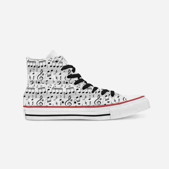 7ce466393d69 High-Top Music Note Printed Converse Shoe~High Top Sneakers~Tennis  Shoes~Custom High-Tops~Street Sho