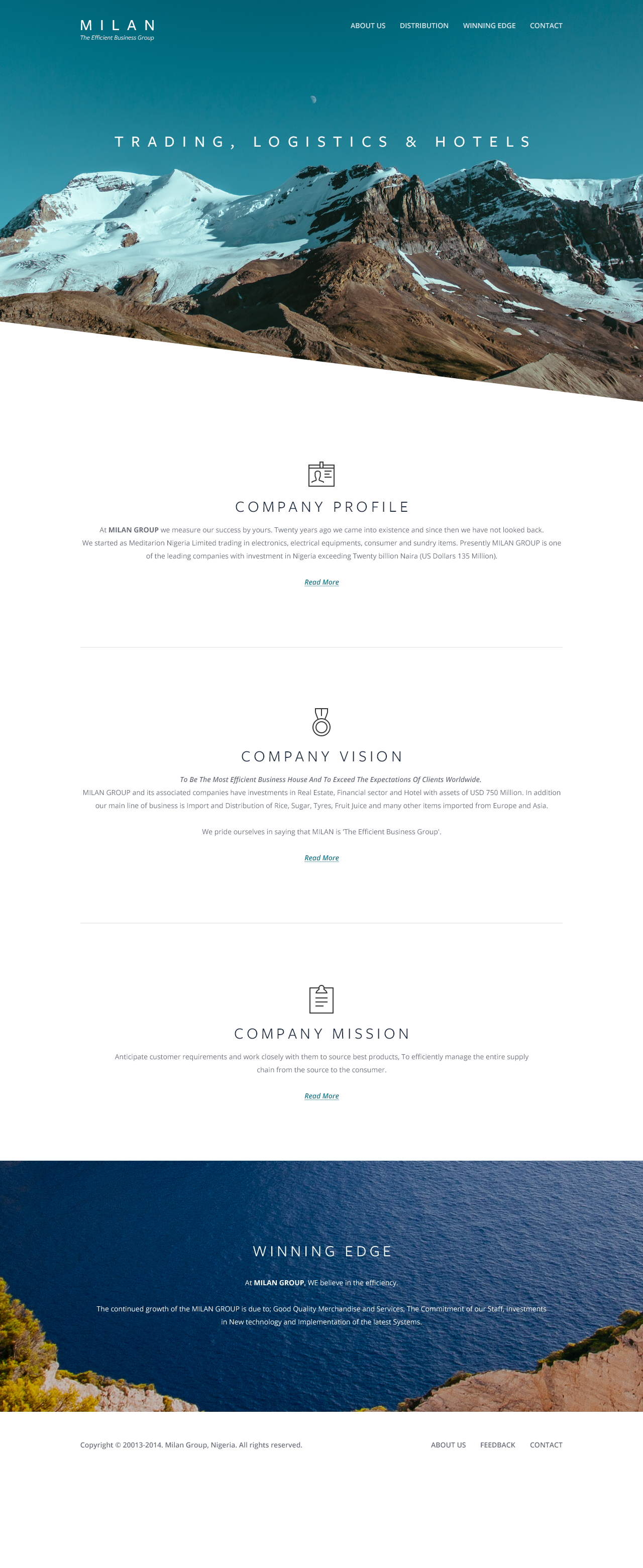 Milan business group website landing page design web design