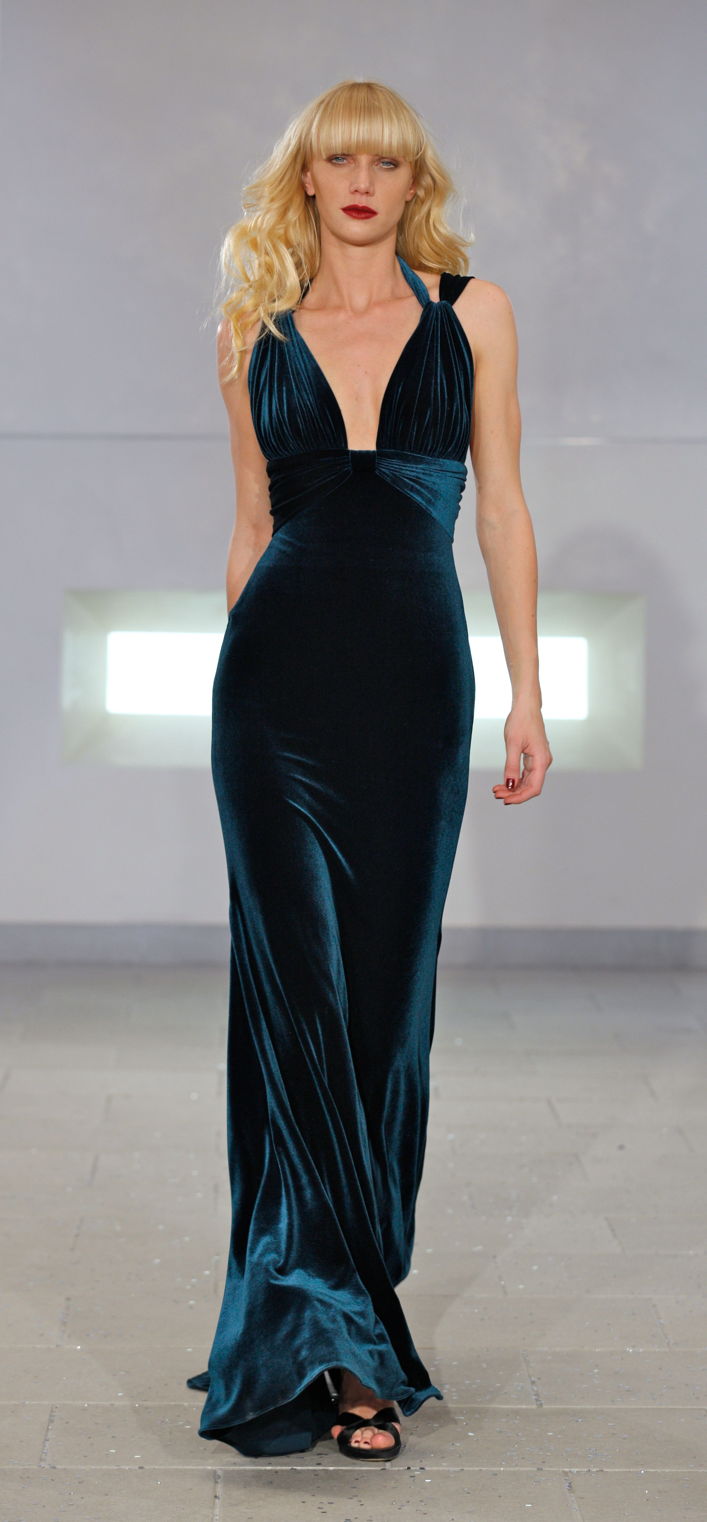 Teal velvet gown from Marc Bouwer Couture NYC Fashion week | Sensual ...