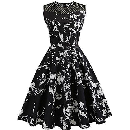 Lenfesh Robes à  Audrey Hepburn  Classique Vintage 50 s 60 s Style à ... befdb14a90