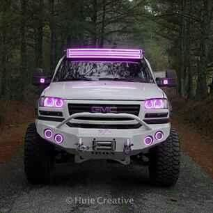 White Gmc Sierra Diesel Truck With Pink Dual Light Bars And Pink Halos Jacked Up Trucks Dream Cars Jeep Lifted Chevy Trucks
