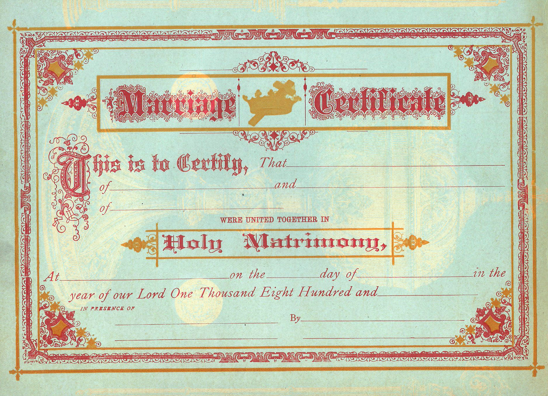 fancy forms marriage certificate chromolithograph c1860