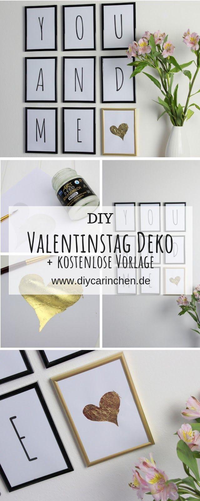DIY süße Valentinstag Wanddeko mit Blattgold einfach selber machen
