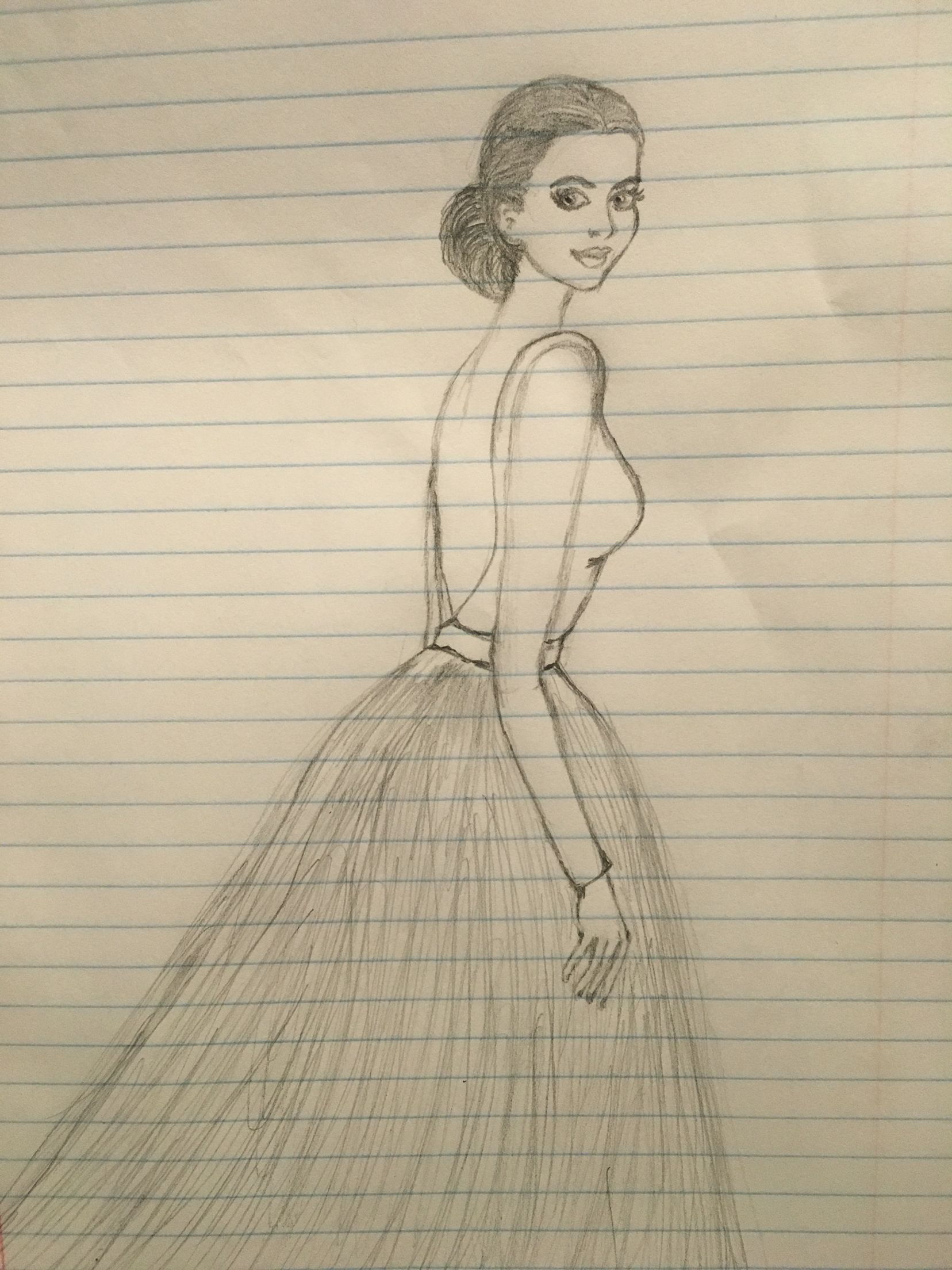 Pencil drawing pencil sketch of a girl with long dress fashion