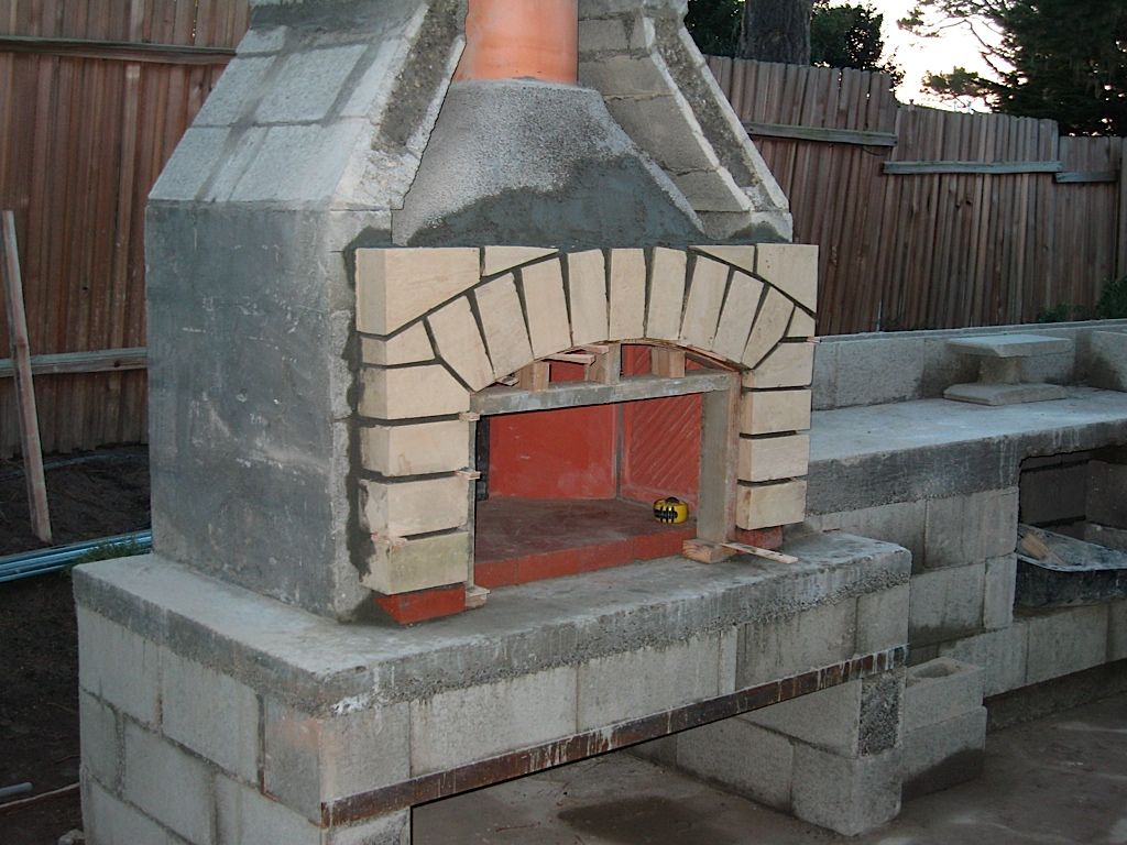Cinder block bones could use stone veneer | Outdoor wood ... on Building Outdoor Fireplace With Cinder Block id=40776