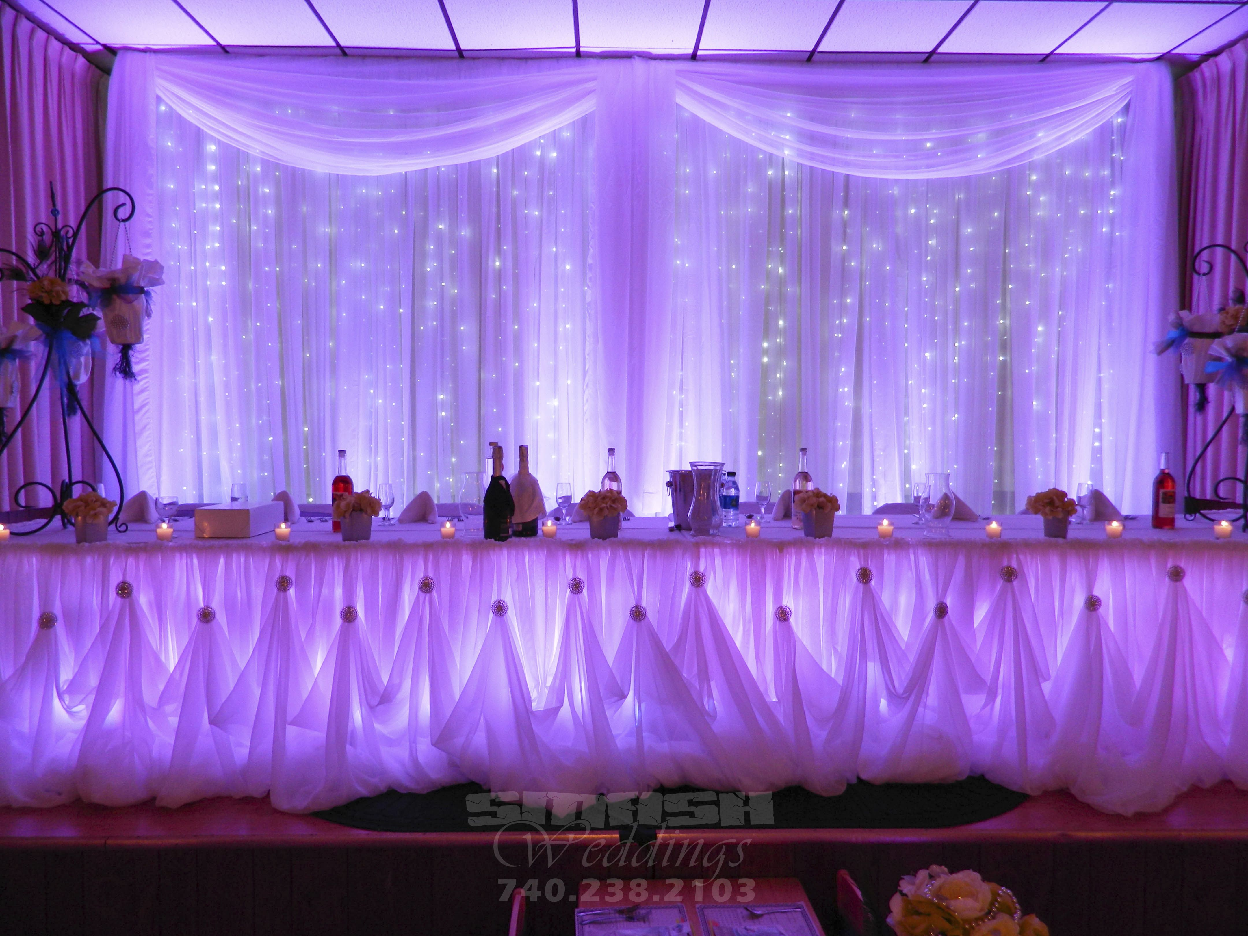 close up shot of backdrop and head table at Wellsburg Wedding ...