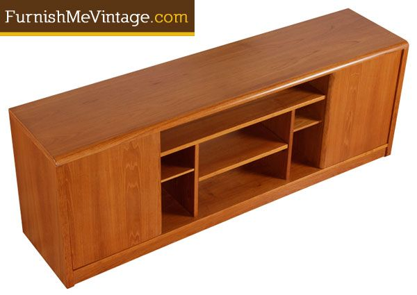 Danish Teak Credenza For Sale : Rare vintage 1980s danish teak media center credenza. this is a true