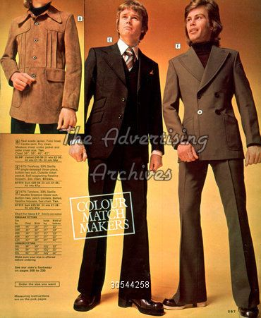 fa1b0bf910 In the 1970s mens suits had wide lapels, collars, and ties, and the ...