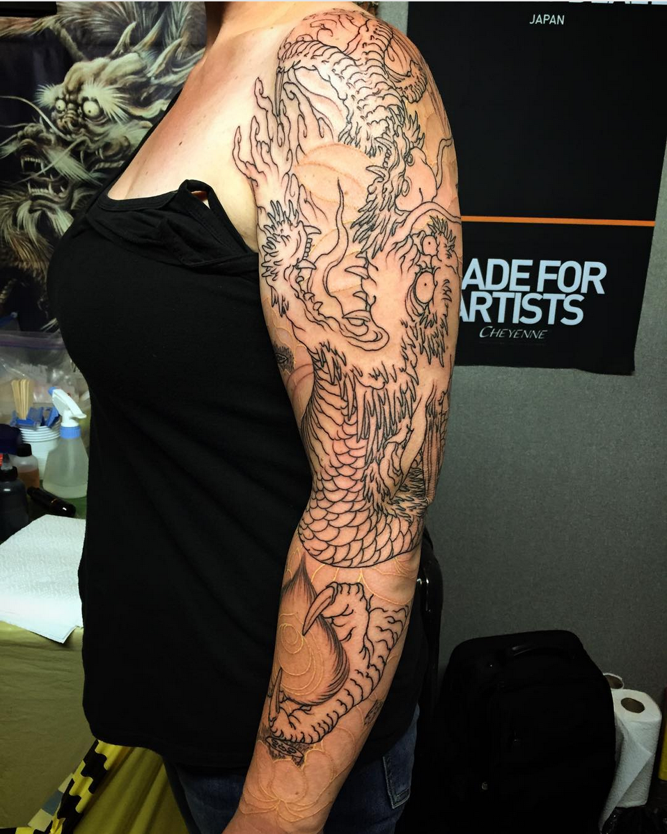 Dragon and lotus sleeve by shige tattoos pinterest lotus tattoo dragon and lotus izmirmasajfo