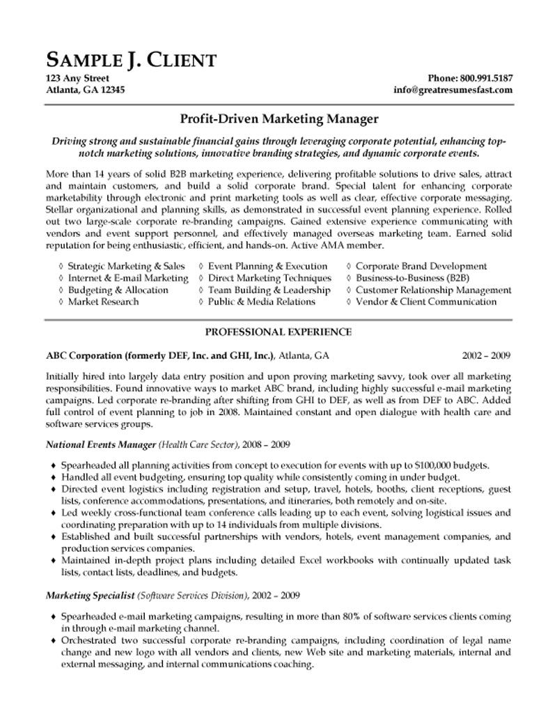 marketing manager responsibilities resume
