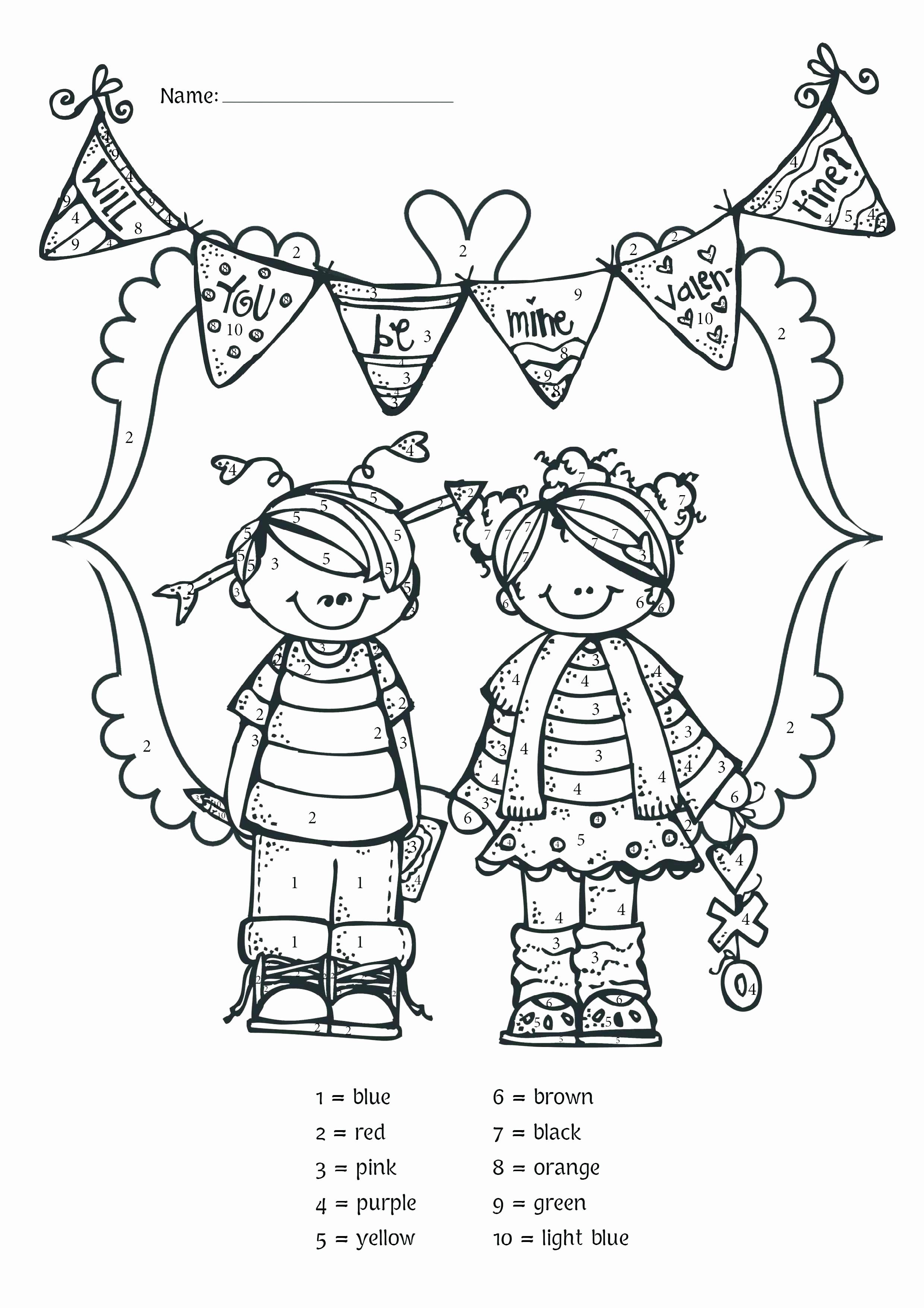 Color By Number Valentine Coloring Pages In
