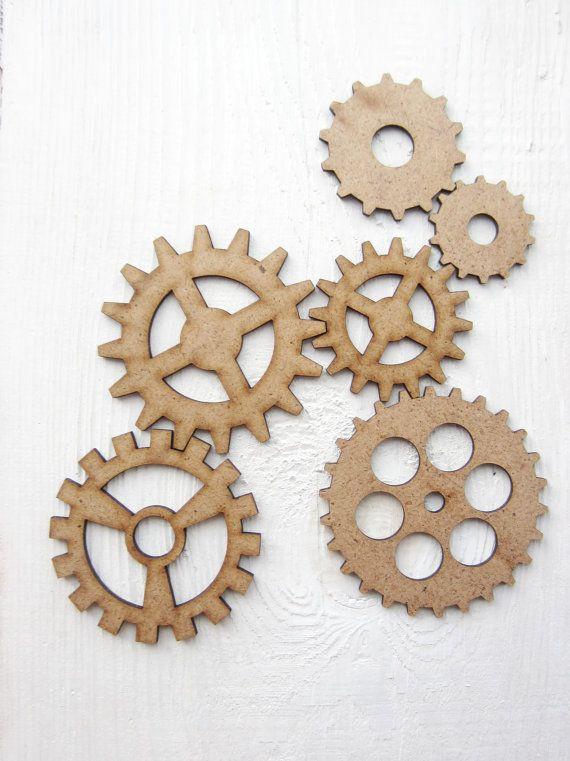 Formas de madera Steampunk engranajes COGS Gear Engranaje De Corte Láser Decoración Industrial Craft