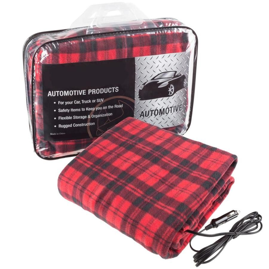 Fleming Supply Fleming Supply Heated Car Blanket Red and Black 59-in W Polyester Blanket at Lowes.com