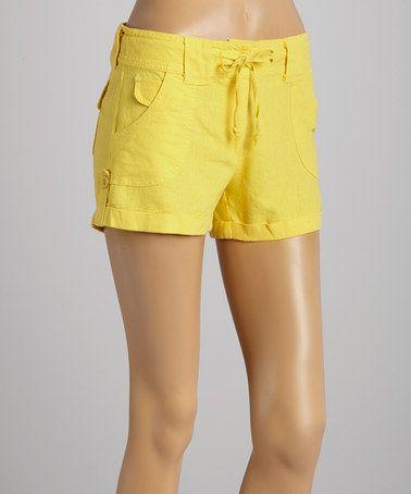 Loving this Yellow Linen-Blend Shorts on #zulily! #zulilyfinds