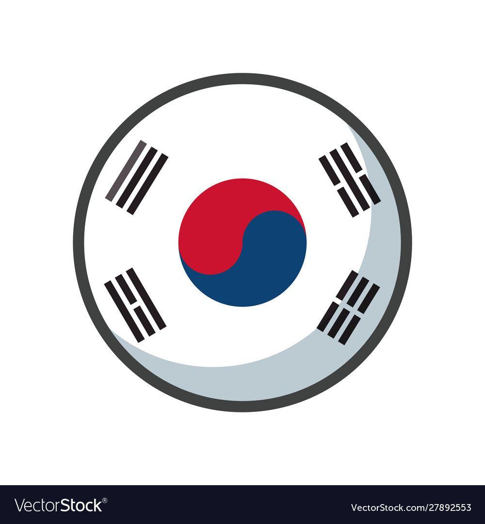 Isolated South Korea Flag Icon Block Design Vector Image Ad