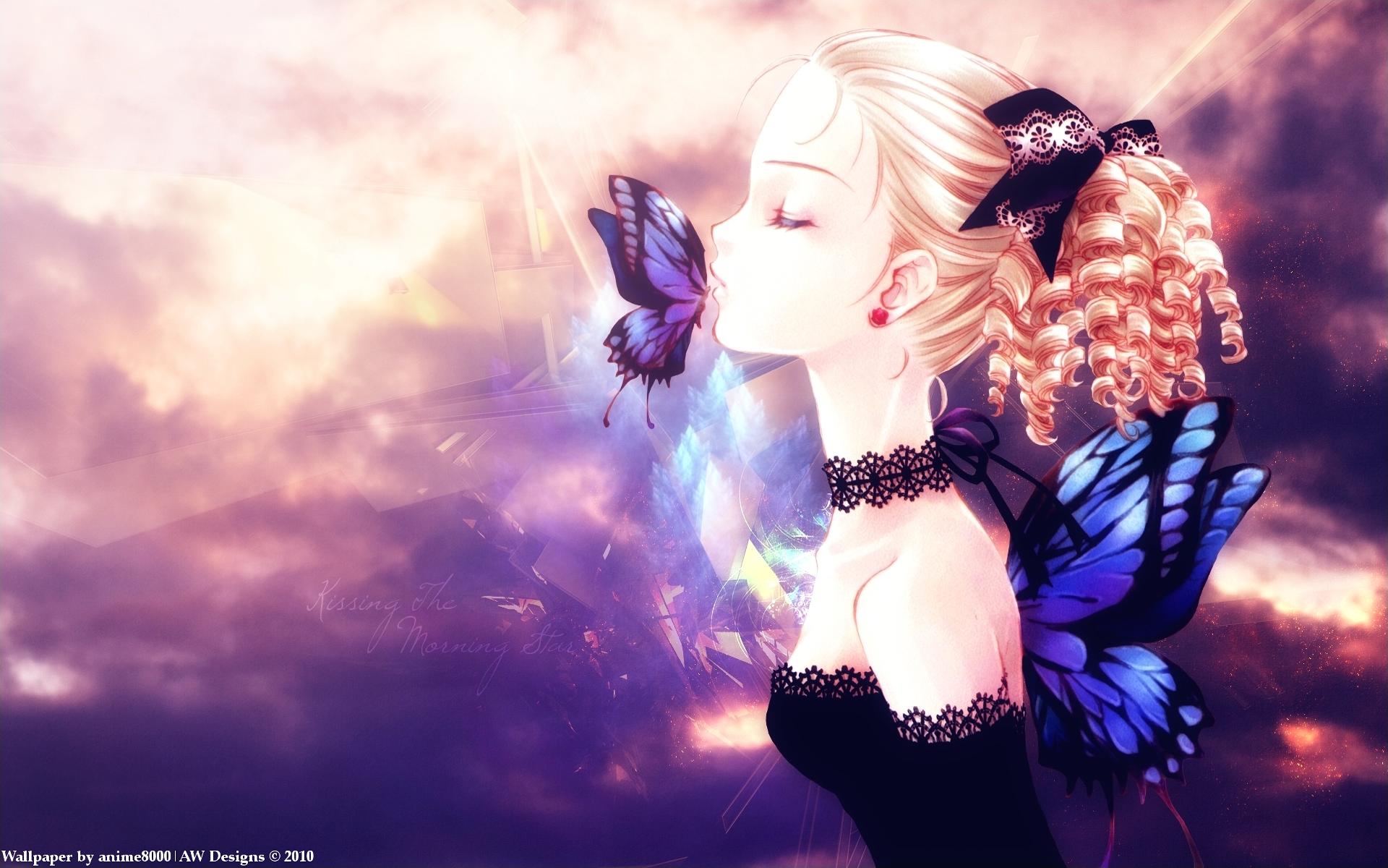 Anime Original Girl Fairy Butterfly Blonde Wings Kiss Wallpaper Blue Butterfly Wings Anime Butterfly Female Anime