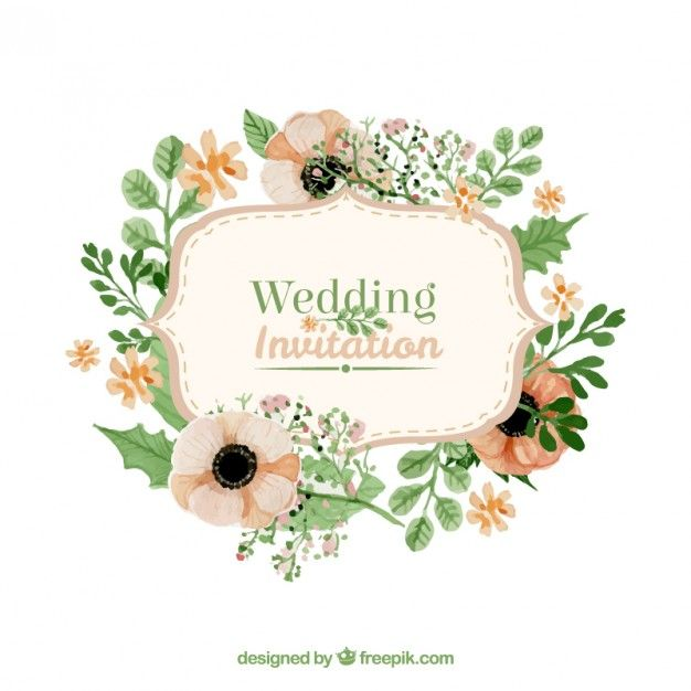 Floral wedding invitation in retro style Free Vector – Floral Wedding Invitation