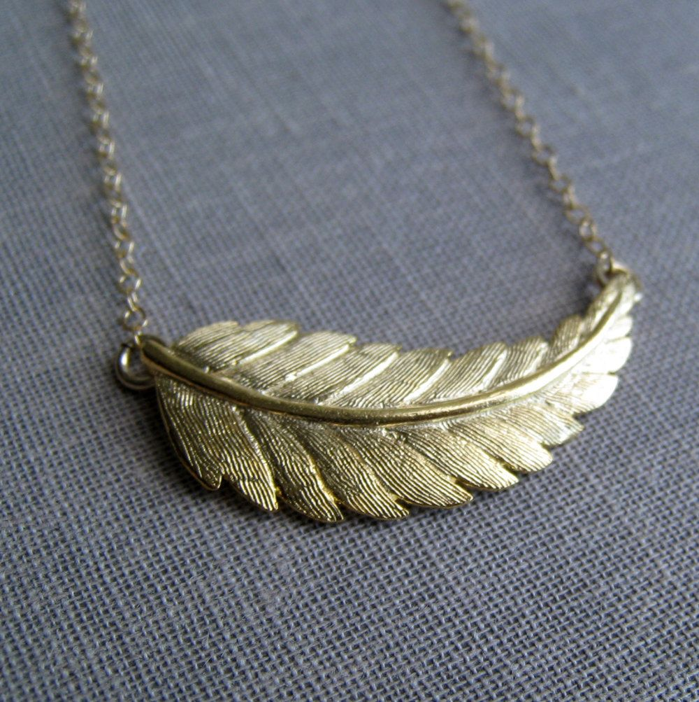 Gold leaf necklace gold feather necklace simple nature jewelry