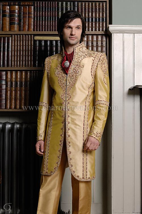 3/4 length gold wedding suit with antique gold jardosi embroidery ...