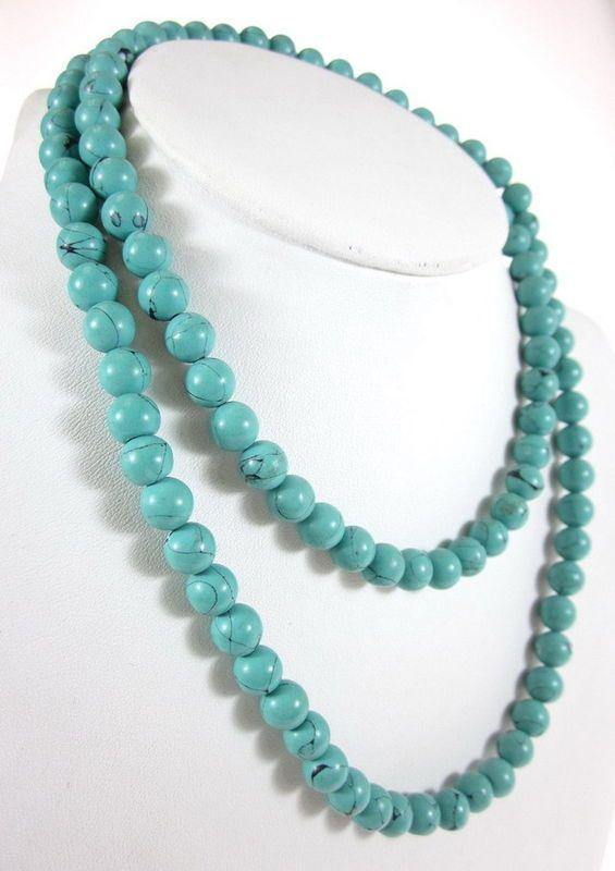 DESIGNER Turquoise Beaded Classic Strand Necklace at www.ShopLindasStuff.com