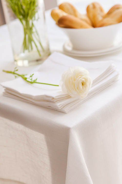 Classic Scandinavian Design, Nordic Style Large Pure Linen Natural White Hemstitch  Tablecloth In Many Extra