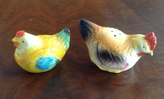 Vintage Ceramic Rooster and Hen Salt and by OrchidIsleVintage