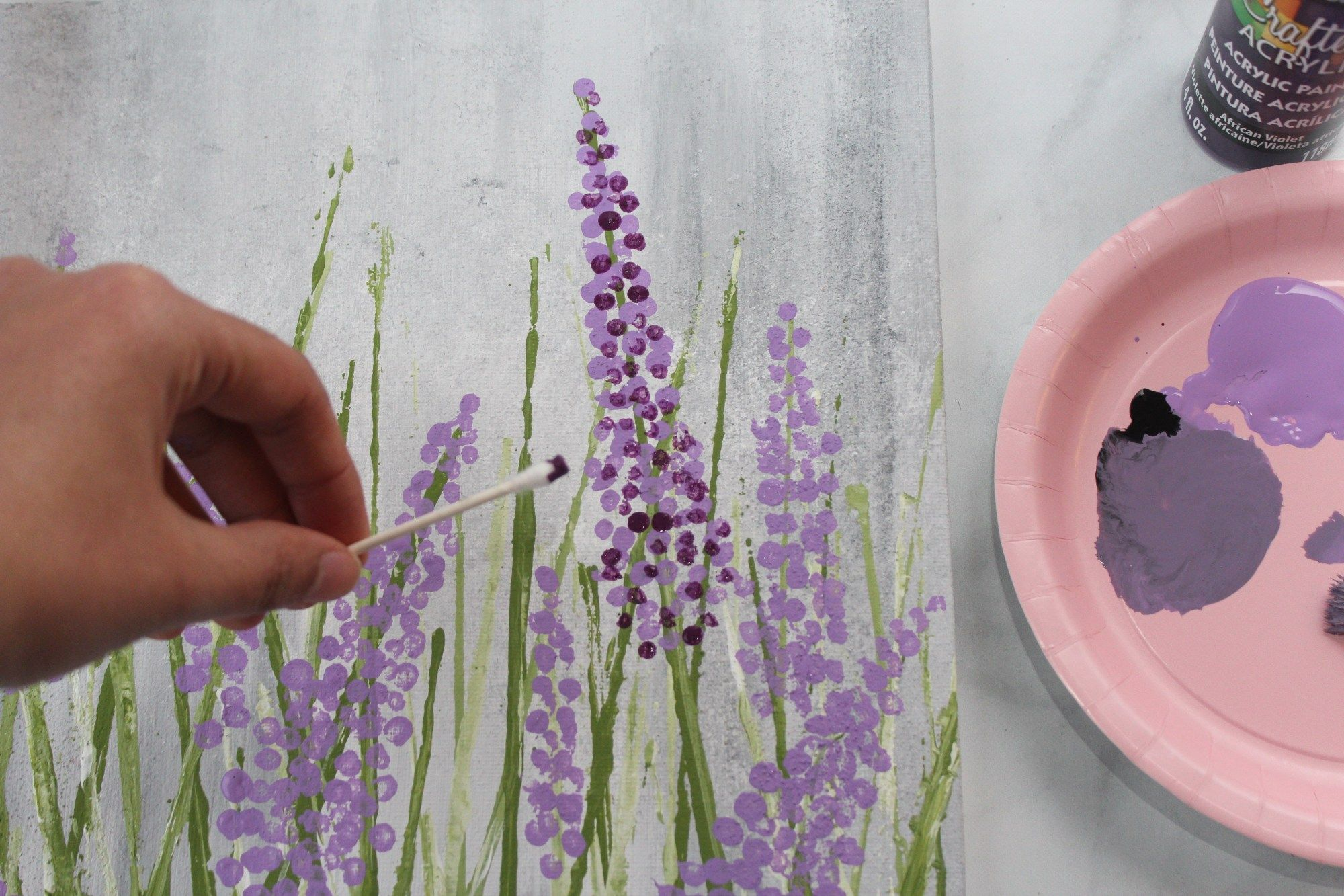 Want To Learn How To Paint Lavender The Easy Way How To Paint Series In 2020 Acrylic Painting Flowers Lilac Painting Easy Flower Painting