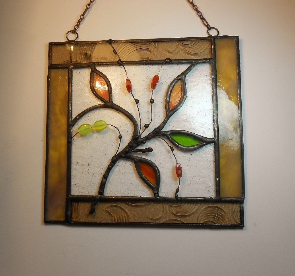 Abstract Art With Leaves. Stained Glass Panel. Framed Art | Vidrio ...