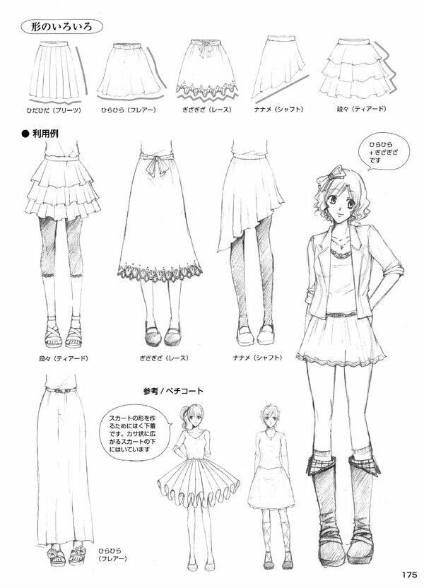 How to draw study skirts for comic manga panel design reference clothes