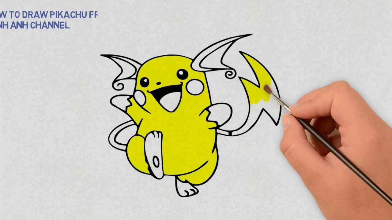 How To Draw Pikachu From Pokemon - Learning Draw And Color ...