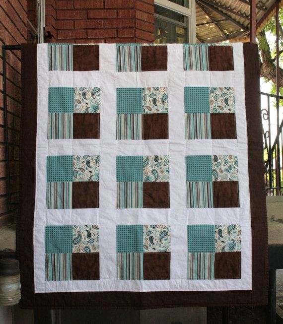 BrownTeal and White Squares Baby Quilt or Lap Quilt by MyCuteIdea, $79.00