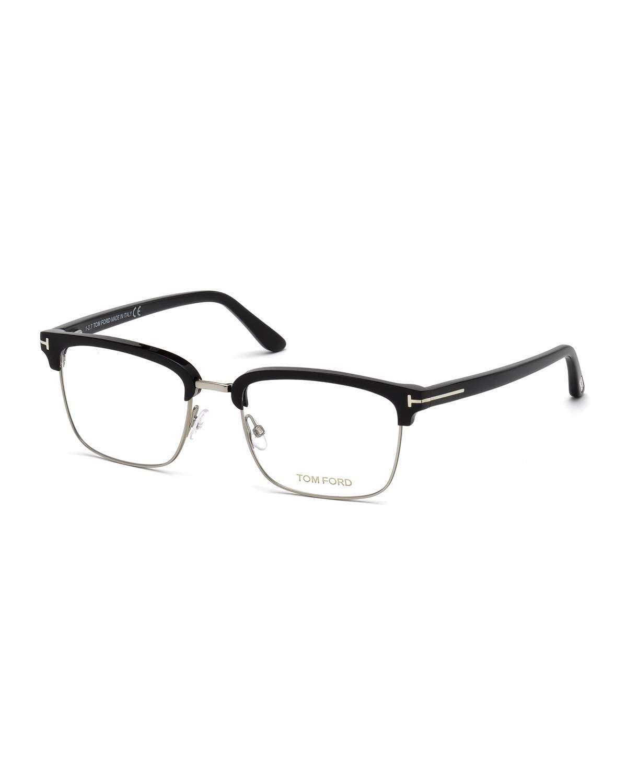 c5aa253712cd Tom Ford Men's Square Metal/Plastic Half-Rim Optical Glasses - Silvertone  Hardware