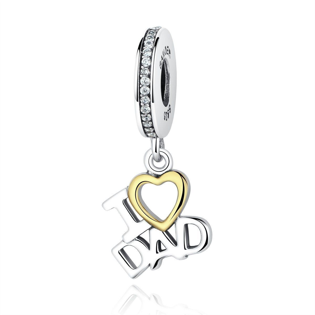 Genuine 925 Sterling Silver Mom Heart Charm Bead Bracelet Fit Mother//Mum