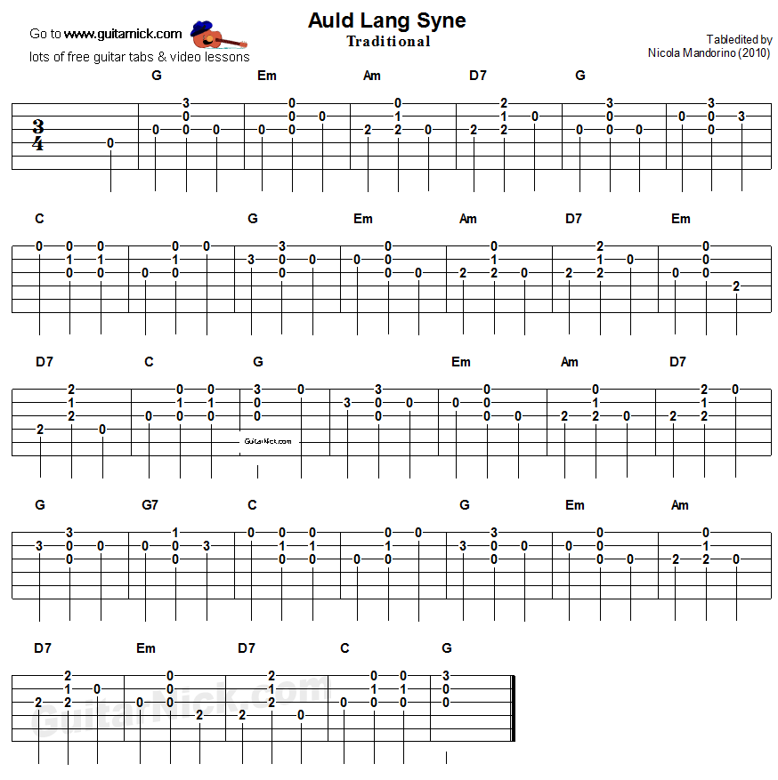 Guitar Chords And Lyrics For Beginners Irish Songs: Auld Lang Syne: Easy Guitar Tablature