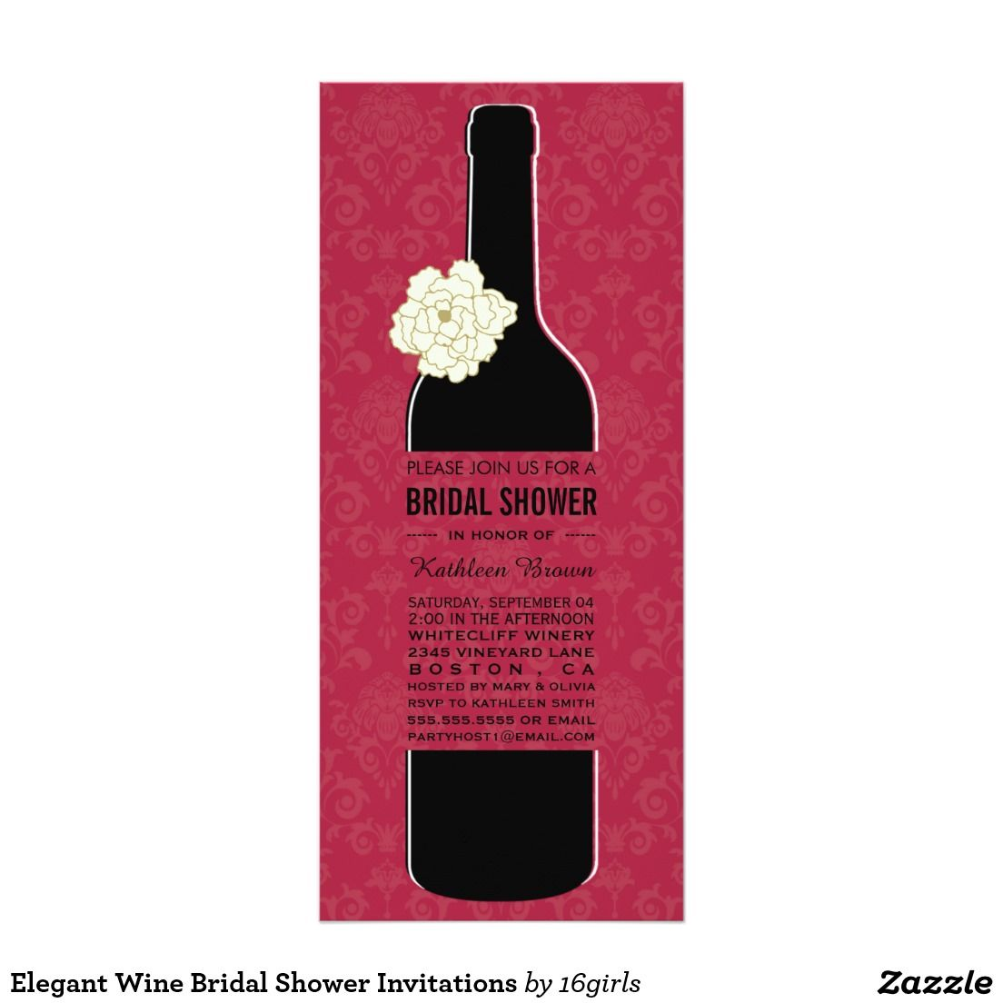 Elegant Wine Bridal Shower Invitations | Wine bridal showers, Shower ...