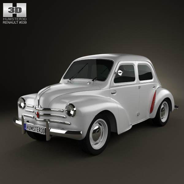 3d Model Of Renault 4cv Sedan 1947 1961 Renault Renault 4 Sedan