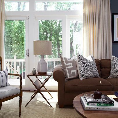 Decorating with a brown sofa french doors side tables - Chocolate brown and white living room ...