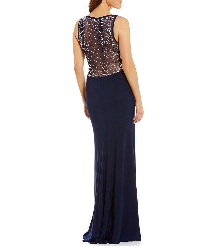 B darlin vneck heat stone embellished illusion insets long dress