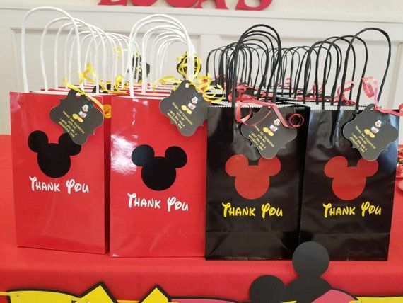 009 Personalised Minnie Mouse Stickers Birthday Party bag Thank You Sweets Cake