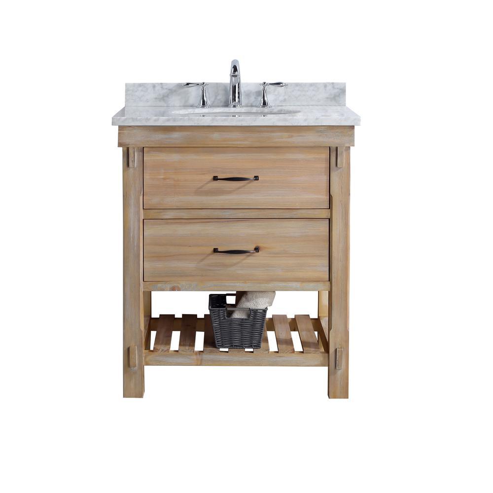 Ari Kitchen And Bath Marina 30 In Single Bath Vanity In Driftwood With Marble Vanity Top In Carrara White With White Basin Kitchen Bath Farmhouse Vanity