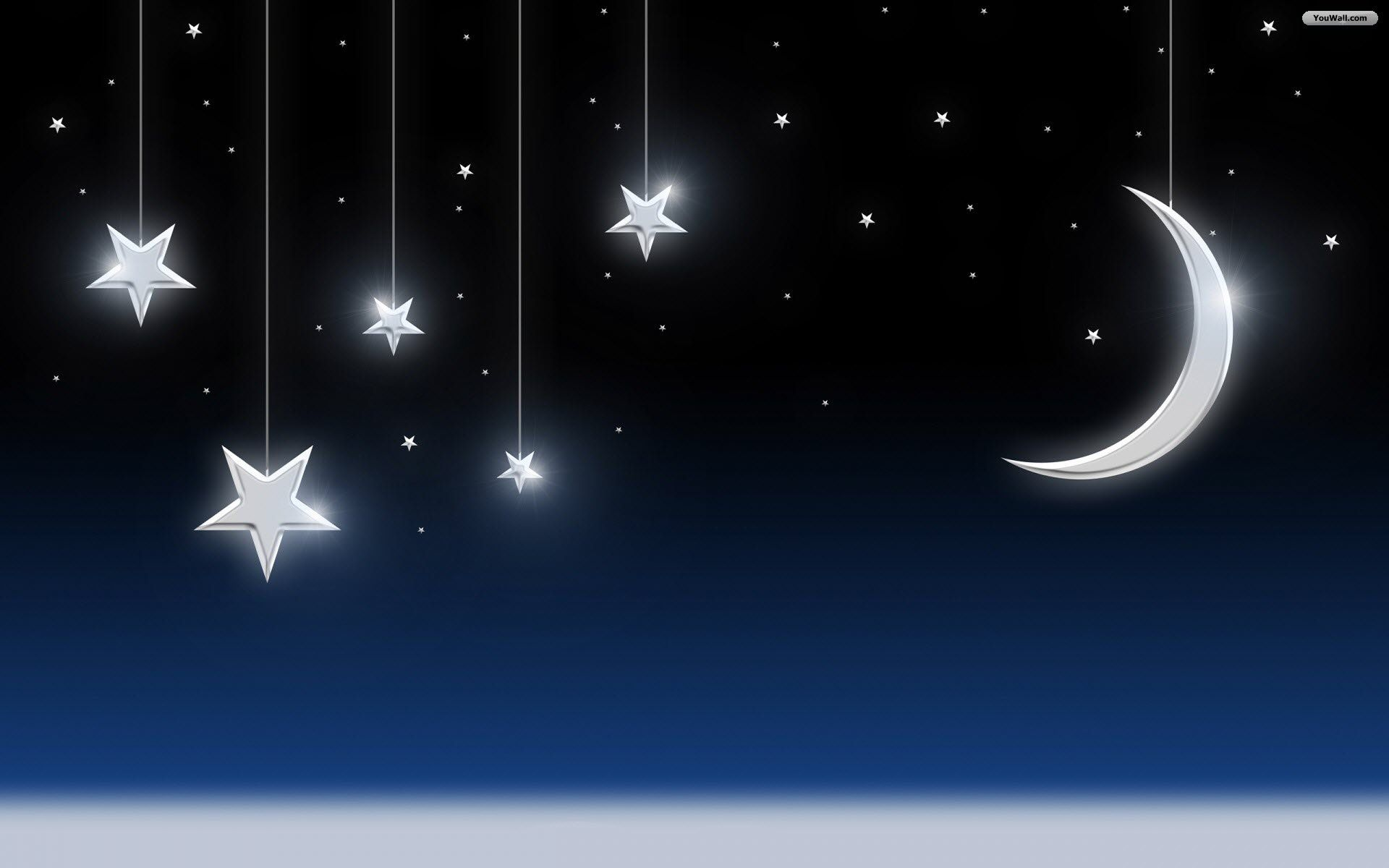Moon And Stars Desktop Wallpaper Wallpapersafari Moon And Stars Wallpaper Good Night Wallpaper Facebook Cover