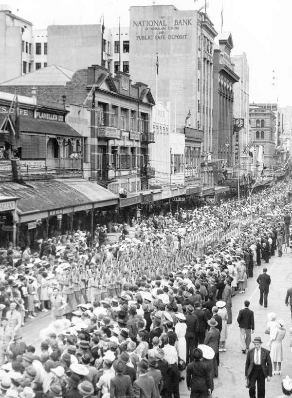 Military marches through brisbane streets picture for Queensland terrace state library