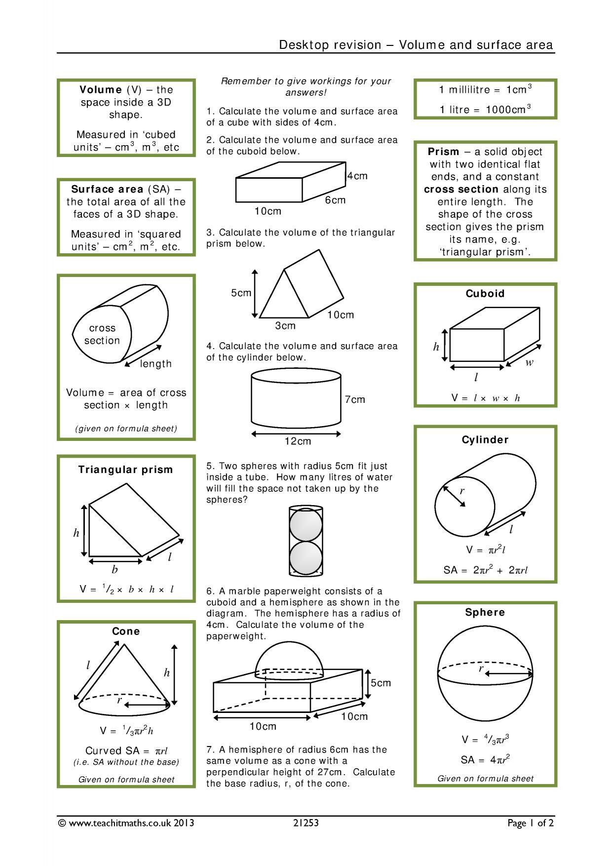 Classified Volume Of Cylinders Cones And Spheres Worksheet