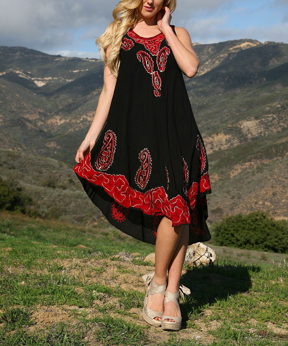 Ananda's Collection Black & Red Batik Swing Dress by Ananda's Collection #zulily #zulilyfinds
