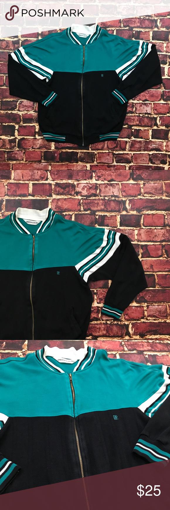 Vintage Track Jacket Colorblock Striped 80s 90s Vintage Pierre Cardin Color Block Full Zip Track Jacket Mens Medium Black Track Jackets Vintage Jacket Jackets