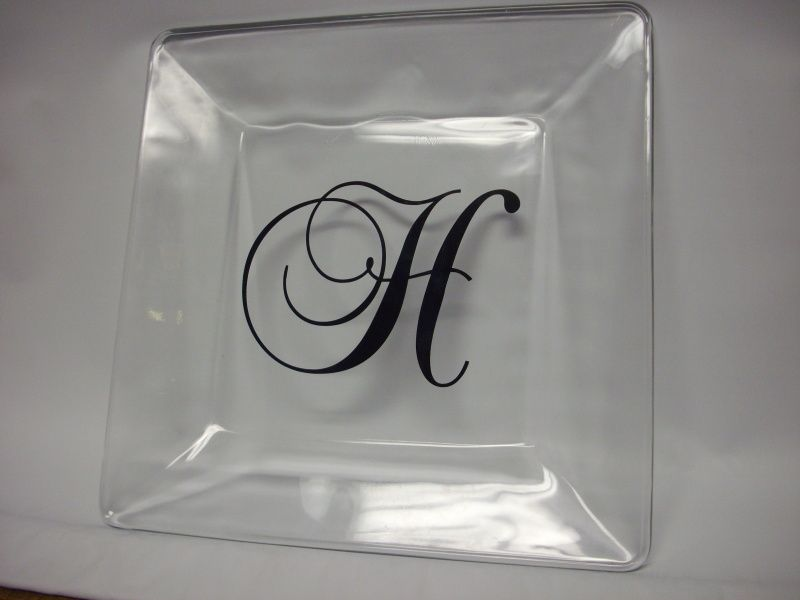 Personalized Dinner Plates (clear glass plates with your initial placed on the back side \  & Personalized Dinner Plates (clear glass plates with your initial ...