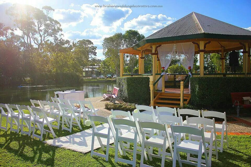 A Gorgeous Styled Rotunda Overlooking Lagoon Ceremony Set Up By Brisbane Wedding Decorators